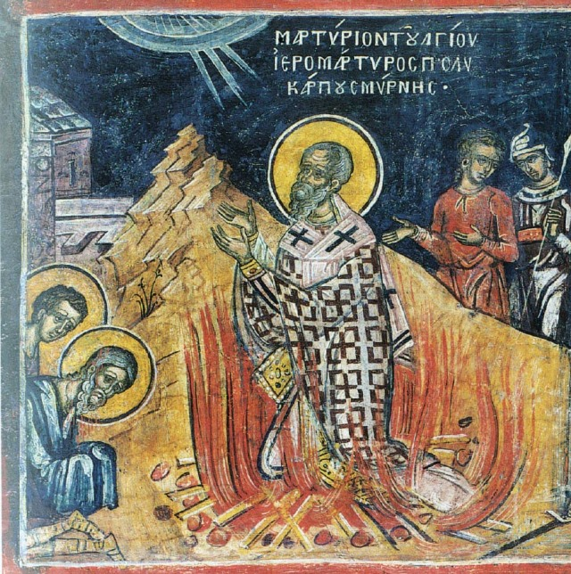 "St. Polycarp learned about Jesus from St. John the Evangelist, who taught him and made him Bishop of Smyrna in present-day Turkey. Therefore we would expect that any extant writing by Polycarp would be as faithful to the Gospel as it's possible to get from someone who didn't know Jesus directly. And we have such a fragment, a Letter to the Philippians, as documented by St. Irenaeus (d. 202), who was born in Smyrna and became Polycarp's disciple. Through Irenaeus we have a direct link to ""the disciple Jesus loved!"" (omhksea.org)"