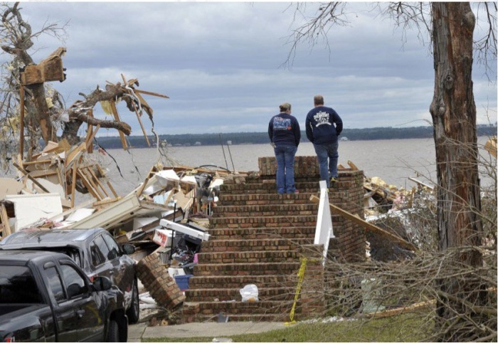 This used to be their home in Pensacola, Florida, before a winter tornado damaged or destroyed 300 dwellings. (Tony Giberson/Pensacola News-Journal)