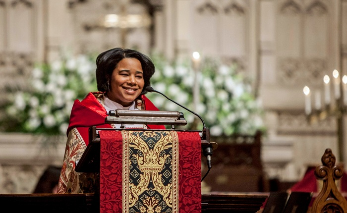 """The Very Rev. Miguelina Howell was installed as Dean of Christ Church Cathedral, Hartford, Connecticut, last week, becoming the first Latina cathedral dean in The Episcopal Church. She is a native of the Dominican Republic, raised in The Episcopal Church; as a child she lived across the street from her Episcopal school, and used to """"play church"""" when no one was looking. (diocesan photo)"""