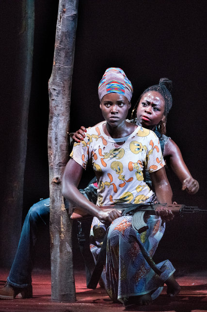 "Academy Award-winner Lupita Nyong'o, front, and Zainab Jah are among the stars in a harrowing new play on Broadway called ""Eclipsed,"" centered on four captive ""wives"" of a rebel officer during the Liberian civil war in the 1990s."