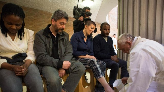 Pope Francis washing the feet of Syrian refugees a week ago on Maundy Thursday.