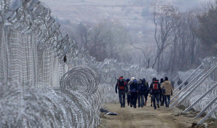 What it looks like when we hear European countries are closing their borders to refugees: Gevgelija, Macedonia, 29 February. (Boris Grdanoski/Associated Press)