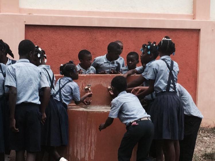 The fountain at St. André's School, Mithon, Haiti. (Père Jean Michelin St. Louis)