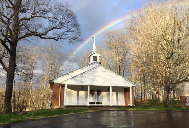 Rainbow over Mt. Pleasant Cumberland Presbyterian Church in Edmonson County, Kentucky, the hometown church of our Deacon Letha Tomes Drury. Cumberland Presbyterians grew out of the Second Great Awakening revival movement in the United States during the early 19th Century; conservative in some ways (some insist on the Authorized King James Bible) and liberal in others, the first Presbyterians to ordain women. (Olivia O'Neal Forester)