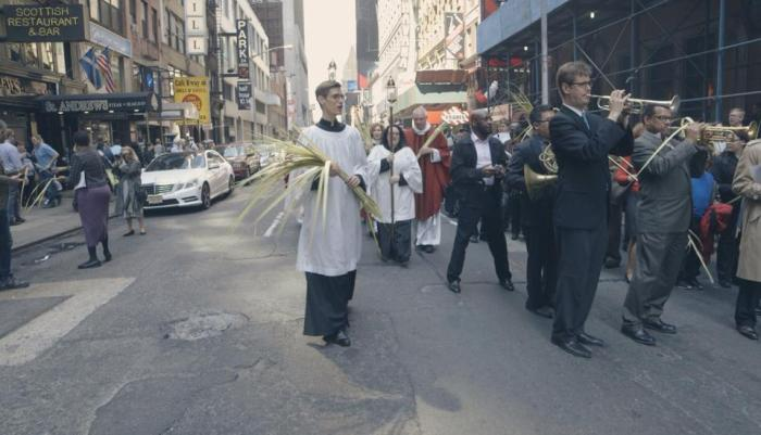 Palm Sunday procession outside the Church of St. Mary the Virgin in Times Square, New York, 2014. (parish photo)