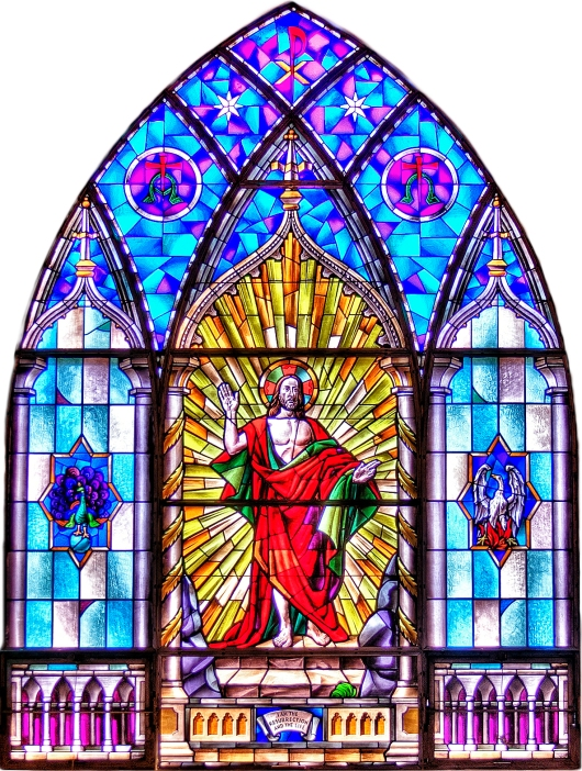 Resurrection window, St. Paul's, Kankakee, Illinois (parish website)