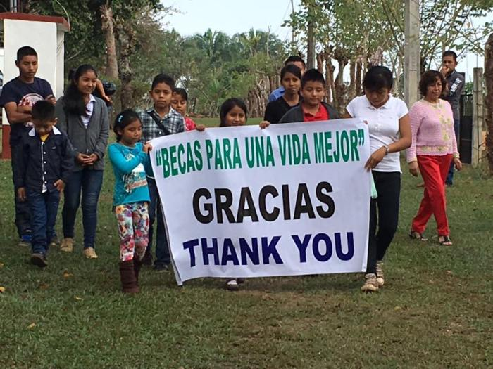"""The children's sign at the diocesan synod in Southeastern México reads, """"Scholarships for a Better Life."""" (The Rt. Rev. Mary Gray-Reeves)"""