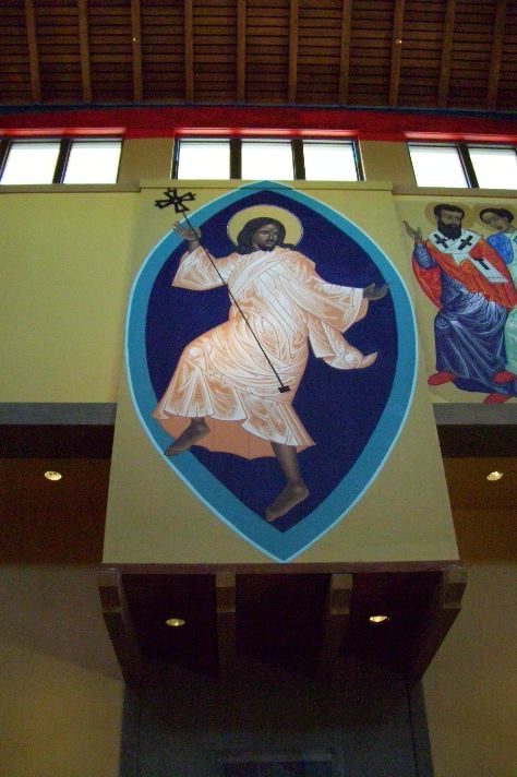 The central figure among the Mark Duke icons at the Church of St. Gregory of Nyssa in San Francisco: the Dancing Christ.