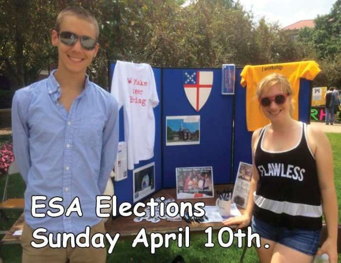 Benjamin Eaton and D. Hrach on a poster advertising elections next Sunday for the Episcopal Student Association at Purdue University in West Lafayette, Indiana. I know Ben; he volunteered many days last summer at my parish's food pantry across the river in Lafayette. (Chapel of the Good Shepherd)