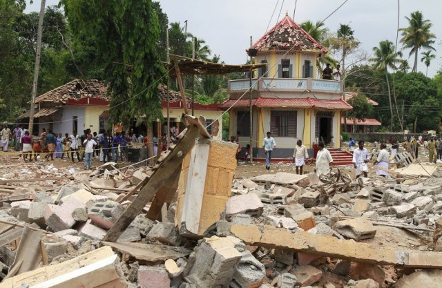 The fireworks disaster at the Hindu temple early Sunday morning; the death toll stands at 110. A criminal case has been opened, but no one has been arrested yet; CNN reports the temple didn't have a fireworks permit. Other reports say 15 temple board members have fled. (Religion News Service)