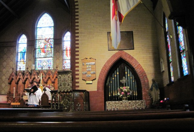 The interior of St. Mary's, Foggy Bottom. The church is located near Georgetown University and offers a variety of stimulating speakers, preachers and cultural events. (parish photo)