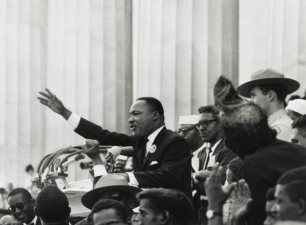 """Martin Luther King, Jr., """"I have a dream,"""" 1963, by Bob Adelman. (Library of Congress)"""