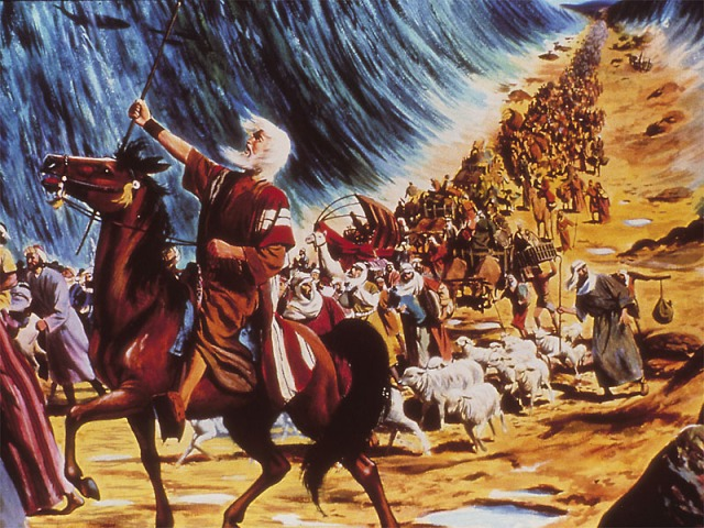 Parting of the Red Sea, with the people of Israel walking behind Moses; artist unknown.