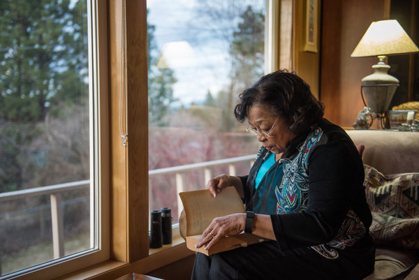 Patricia Bayonne-Johnson is a descendant of one of the slaves sold by the Jesuits to keep Georgetown afloat, and she is president of the Eastern Washington Genealogical Society, which is helping piece together the story and reconnect with descendants. (Rajah Bose/The New York Times)
