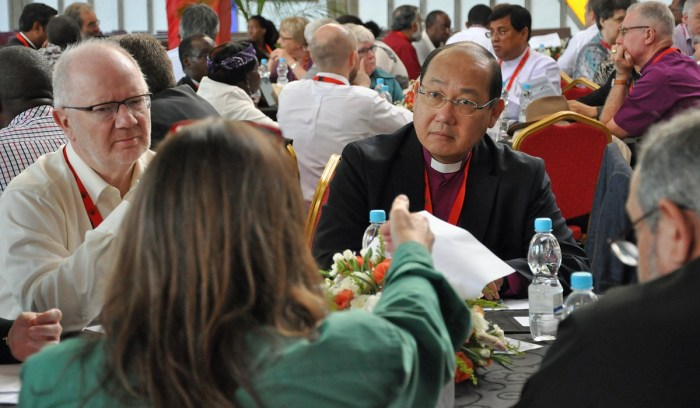 "The Archbishop of Hong Kong, Paul Kwong, was elected chairman of the Anglican Consultative Council at its meeting yesterday in Lusaka, Zambia. ""The most important issue is to hold the Communion together,"" he said. The council includes bishops, priests, deacons and laypeople, but hasn't had a lay chair since 1999. The national primates have their own meeting, one of four ""instruments of communion"" along with the council, so Archbishop Kwong is now a power in two of the four. (Mary Frances Schjonberg/Episcopal News Service)"