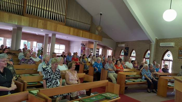 St. Mark's, Buderim, Queensland, last week, listening to an interfaith presentation. (Nora Amath)