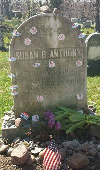 "New York State held its presidential primary last week, after which the grave of suffragist Susan B. Anthony in Rochester, N.Y. was festooned with flowers and ""I Voted"" stickers. Happens every time there's an election, locals say. Anthony will join the list of women and African-Americans to be honoured on paper money in a few years, the Treasure Department said. (Ted Sakshaug)"