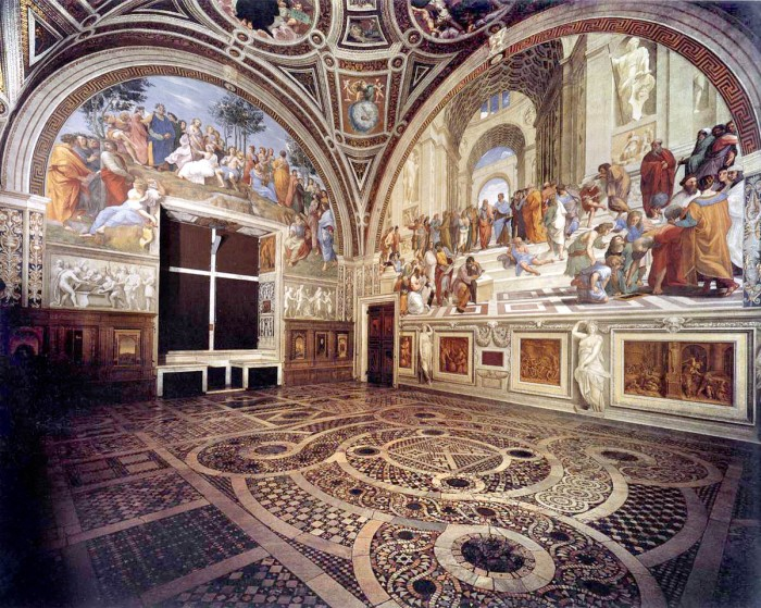 Frescoes by Raphael in the Stanza della Segnatura, Vatican Palace, Rome. (Wikipedia)
