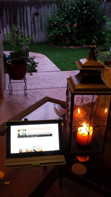One of our webcasters sent this delightful photo, reading Evening Prayer via her laptop while enjoying her patio. (Linda Barry)