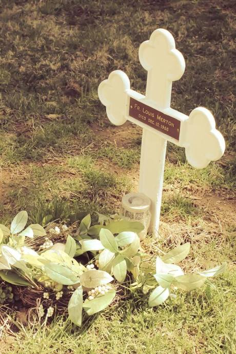 Thomas Merton's grave, Gethsemani Abbey, Kentucky. He was renowned for his books on Christian spirituality, which introduced many people to the practice of centering prayer, and he actively pursued relationships with leaders of other spiritual traditions, including the Dalai Lama. (source unknown)