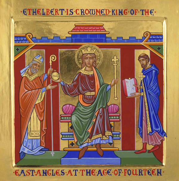 Ethelbert's reign is particularly well documented. Besides Bede's extensive writings, Pope Gregory the Great was naturally concerned with the progress of St. Augustine's mission, and wrote to the king on his conversion. The Anglo-Saxon Chronicle, c. 890, discusses events in Kent during the period, an 11th Century copy of Ethelbert's code of law is still extant, and Alfred the Great used Ethelbert's code as one basis of his own set of laws. The icon above is one of a series of panels on Ethelbert displayed in Hereford Cathedral.