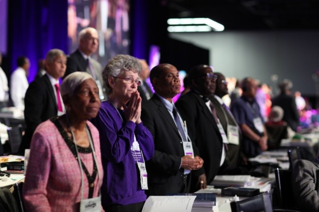 We ask your prayers for the United Methodist General Conference, currently meeting in Portland, Oregon amid deep divisions between conservatives, centrists and progressives, and between Americans, Africans and Asians. May the Holy Spirit guide them in all their decisions, particularly as concerns their governance structure, as they find that beliefs in one part of the world raise adamant opposition in another. May they find ways to stay in communion even if they part over theological understandings, as they have so much in common. (Kathleen Berry/United Methodist News Service)