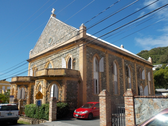 All Saints' Cathedral, Charlotte Amalie, United States Virgin Islands, built in 1848 of native stone to honour the successful slave rebellion that year that gave the people their freedom. This Episcopal diocese also has jurisdiction over the Anglican churches of the British Virgin Islands. (Wikipedia)
