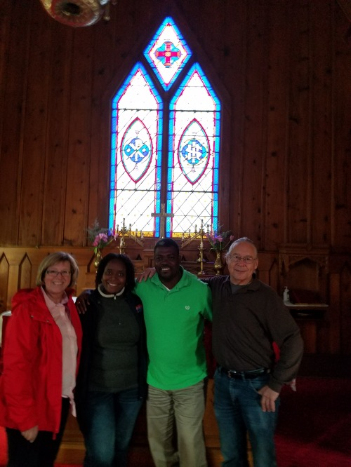 "Mission is a two-way street: the return visit of a Haitian priest and his wife to the Diocese of Eastern Oregon last month, returning the favour after Oregonians traveled to Hinché, Haiti last year to help refurbish the parish school. Gathered at St. Paul's, The Dalles, Oregon were Diane Walworth, the American team leader; Sherly Bernier and husband Fr. Noé Bernier, and Fr. Red Stevens of the host parish. Mission is effective, not when ""we go there to solve their problems,"" but when people on both sides build relationships and work together. From the humblest to the highest, everyone has a story and something to teach. (via Beth Spell)"