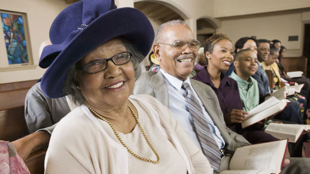 "In this era of ""come as you are,"" African-Americans still dress up often, because church was one place where they were respected and held important responsibilities. Besides, ladies look good in hats sometimes! (round-two.me)"