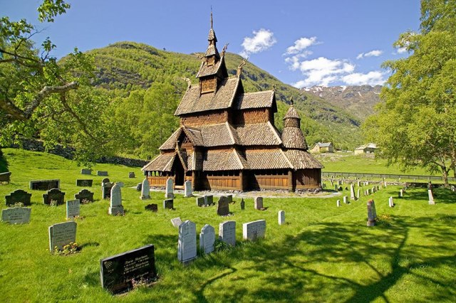 Stave church, Borgund, Norway: they're very proud of these traditional wooden churches of Norway, and congregations work like crazy to preserve them. (Jason Lindsey/Alamy)