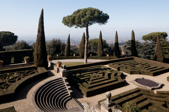 Formal gardens at Castel Gandolfo, the summer home of the Pope, Il Papa. (Gianni Cipriano/The New York Times)