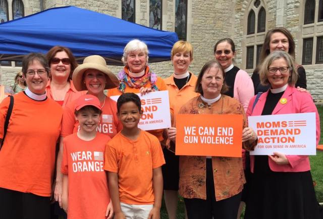 Our Bishop, +Cate of Indianapolis, and some of her friends wore orange on Thursday to oppose gun violence. (Melanie Sokhey)