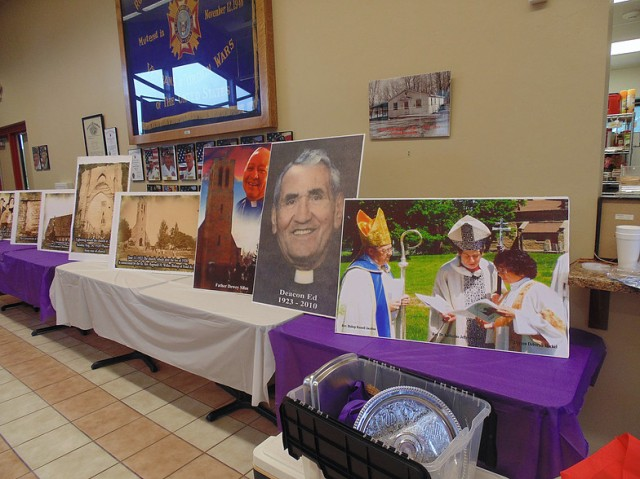 A display at Holy Apostles, Oneida, Wisconsin - Father Hill's church - commemorating their 175th anniversary, including a photo of the visit by then-Presiding Bishop Katharine Jefferts Schori. (parish photo)