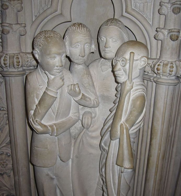 Martin Luther King Jr., Albert Einstein, Susan B. Anthony and Mohandas Gandhi, at the Cathedral of St. John the Divine, New York. (Wikipedia)