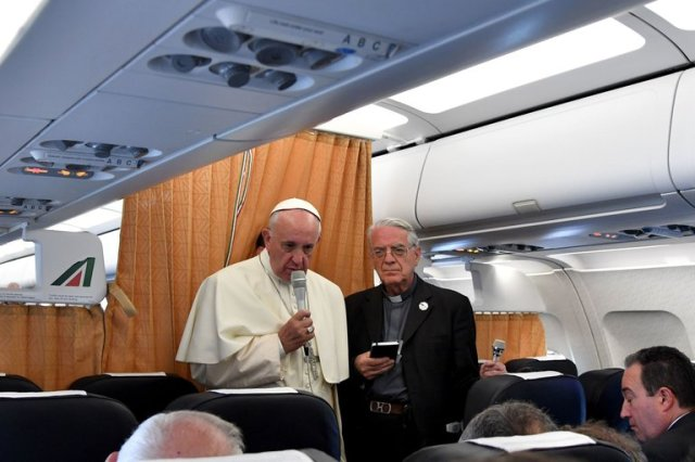 "Pope Francis, returning to Rome from Armenia, told reporters the Church should apologize to Gay people, women and the poor, and stop blessing so many weapons. The apology to LGBTs made the headlines, but the wide range of his remark seemed to dilute its impact; what the Church ""should"" do rather than an actual apology. (Tiziana Fabi/AFP)"