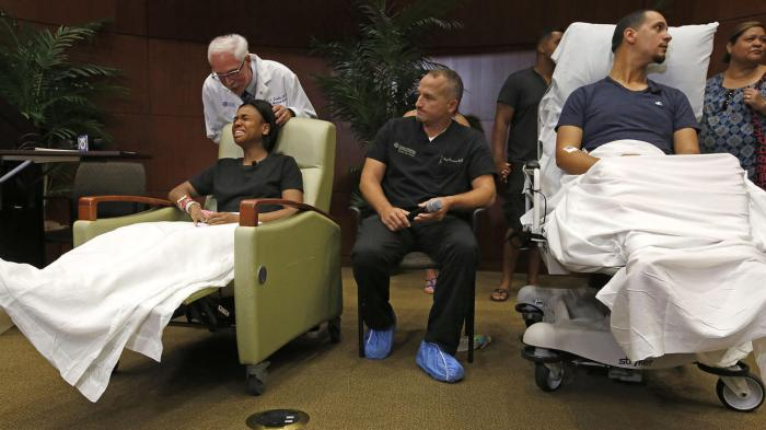 Some of the survivors of the mass murders at Pulse in Orlando were able to meet with the media yesterday, along with members of their medical team. (Carolyn Cole/Los Angeles Times)