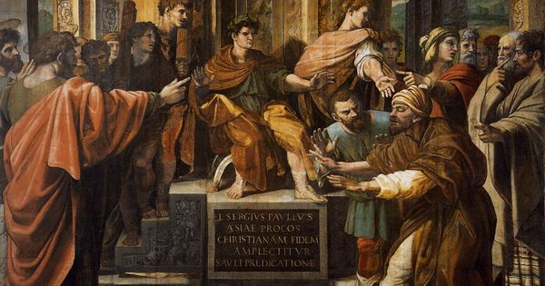 Raphael: Punishment of Elymas (Victoria & Albert Museum, London)