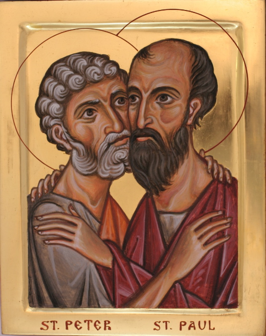 Peter and Paul clashed at times and agreed at times, but they were the greatest of all apostles because they complemented each other; Peter's impeccable judgment and character commanded universal respect, and no one can argue Paul's evangelical genius. (iconographer unknown)