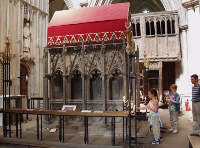 Shrine of St. Alban in the cathedral and town named for him in Hertfordshire. (Barry Samuels)