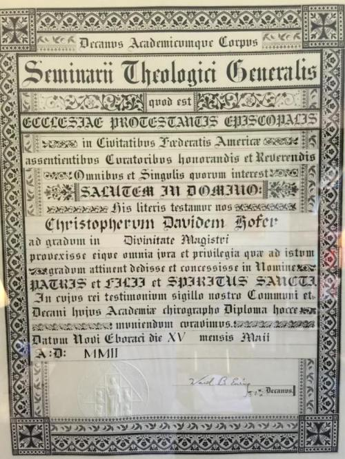 A diploma, in Latin, from the General Theological Seminary, New York. ¶ It's the policy of this website to eliminate the use of Latin as much as possible for evangelical purposes. But liberal use of Latin was considered a hallmark of High Church Anglicanism in the 19th Century, and is a distinctive feature of this seminary. (Courtesy of the Rev. Christopher Hofer, M.Div.)