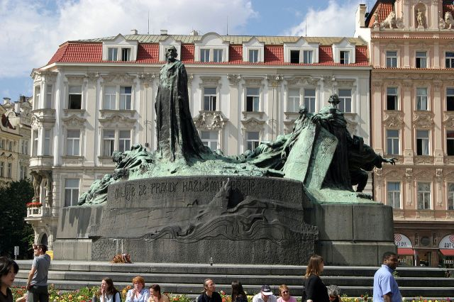 Jan Hus statue, Prague. Hus was a priest and professor at Charles University in Prague who often promoted the writings of John Wycliffe, whose doubts about Church teaching still sound radical to most Anglicans today (except perhaps in Sydney). But the violence with which the Church met them is equally shocking; people were murdered for believing the wrong things. Among the controversies: the Real Presence of Christ in the Sacrament (Hus favored consubstantiation, not transsubstantiation, though the differences seem largely technical today), selling of indulgences, the moral laxity of clergy and religious, and the centrality of Scripture in determining doctrine. But here's one you may not have heard of: Rome taught that the Church consisted solely of those who were ordained. Thus without the Church no one could be saved. It didn't take a scholar to point out that nowhere in the Bible is such a thing suggested - which was the whole problem in a nutshell. Wycliffe and Hus both paid with their lives for pointing that out. (Wikipedia)