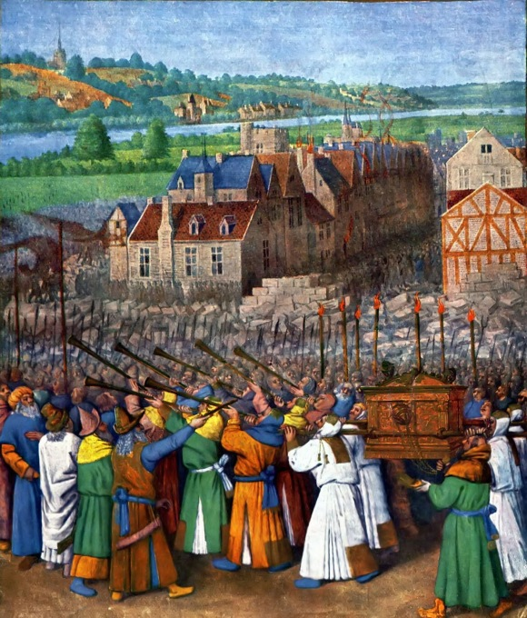 Jean Fouquet, c. 1470: The Fall of Jericho
