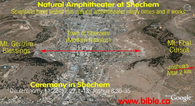 Joshua's altar was located next to a natural amphitheater between two mountains, Ebal and Blank. The modern town of Nablus lies in the valley between them. (Bible.ca)