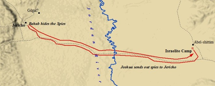 Joshua sent spies from Shittim to Jericho. (israel-a-history-of.com)