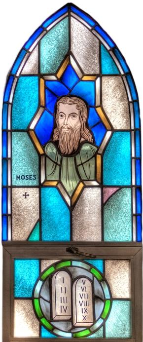 Moses window, St. Paul's, Kankakee, Illinois. (parish photo)