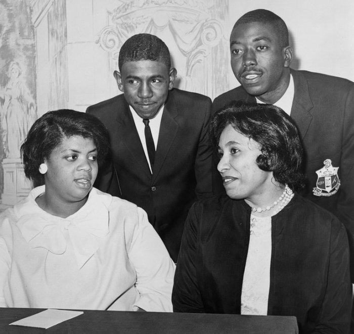 Harry Briggs, Jr. has died, the original plaintiff in Brown v. Board of Education of Topeka, Kansas, a famous U.S. Supreme Court decision outlawing segregation in schools. His parents were the first to file a lawsuit against the South Carolina public schools; they were eventually joined by other families with other suits. When the Supreme Court took up the issue, it consolidated all the cases and, by a legal technicality, named them Brown et al. with the Kansas case in the lead, perhaps because the Plains state was never part of slavery in the Old South. That didn't keep him from being an activist for the rest of his life; above, at a news conference assessing the legal victory in 1964, we see Linda Brown XXX, Mr. Briggs, Jr., Ethel Louise Belton Brown and Spottswood Bolling, Jr., all original plaintiffs.