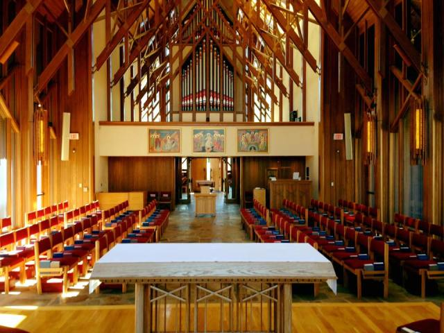 Chapel of the School of Theology at Sewanee: The University of the South in Tennessee; classes are starting up this week and the chapel has added two more sung services every week. (university photo)