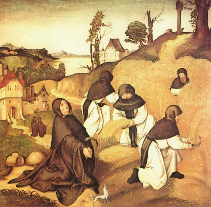 Jörg Breu the Elder, 1500: Cistercians at Work, detail from the Life of St. Bernard. He believed in the spiritual benefits of manual labour.