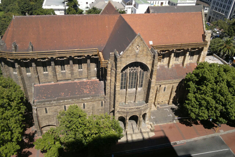 We are sorry to learn that St. George's Cathedral in Cape Town has suffered a partial collapse of its roof; no one was injured, but it's going to take a million dollars to fix it. Cathedral leaders knew the roof was bad and had already started fundraising, but after torrential rains they found out it was worse than they feared. (Cathedral photo)