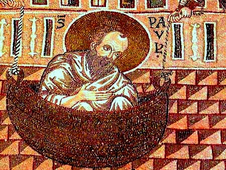 St. Paul Lowered in a Basket, detail of mosaic at Monreale Cathedral, Sicily. (bible-people.info)
